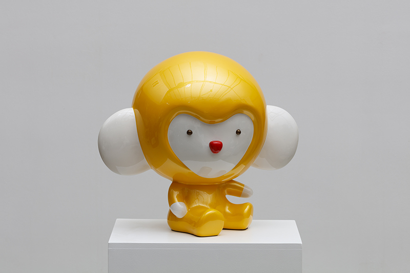 Yellow Kiki thinks what he did. 43x28x40cm, car paint on plastic, 2018.jpg