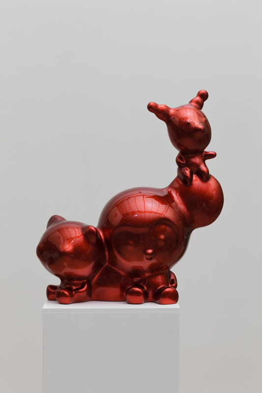 Red Crystal-Kiki, Clo and Hayami, 56x26x65cm, car paint on plastic, 2015.JPG