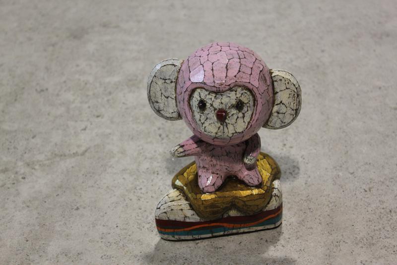 Wood Pink Kiki on a Yummy Cake, 13x10x19cm, milk paint on wood, 2012.JPG