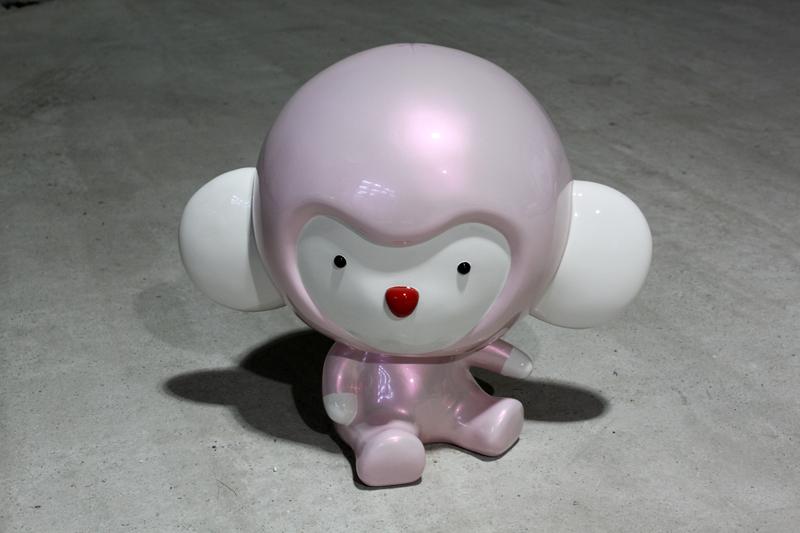 Pink Kiki thinks what he did. 43x28x40cm, car paint on plastic, 2010.JPG