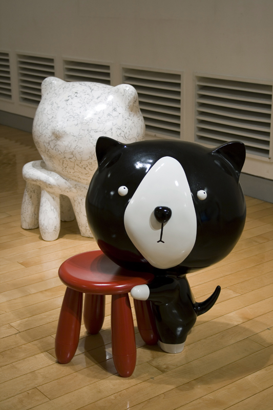 Comfy Chair with Isaku, 60x52x71cm9each), car paint on plastic, plaster, korean ink, 2007.jpg