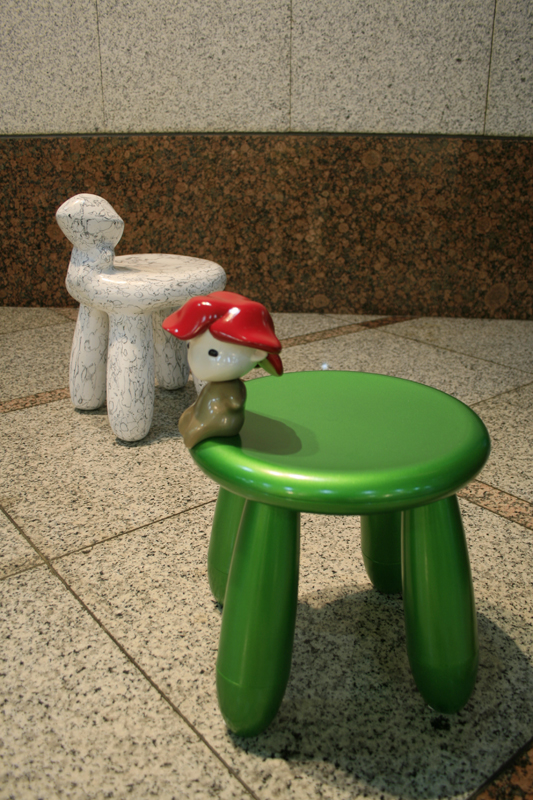 Comfy Chair with Rosi, 33x35x43cm9each), car paint on plastic, plaster, korean ink, 2007.jpg